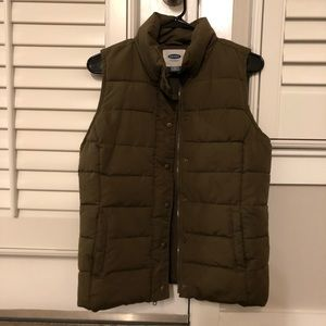 Old Navy Dark Olive Green Puffy Vest